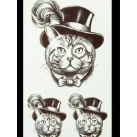 Флеш и 3D тату кот в шляпе