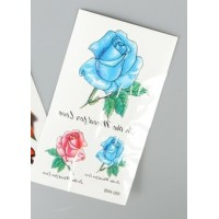 Флеш и 3D тату синий цветок