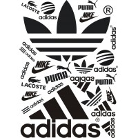 Термонаклейки с логотипами adidas, puma, nike, lacoste (Лист 21*30 см)